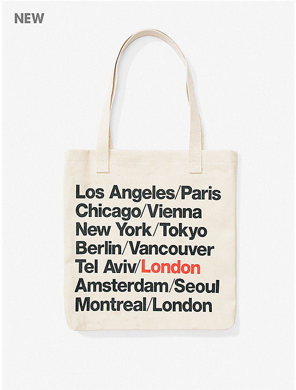 London Cities Print Bull Denim Tote