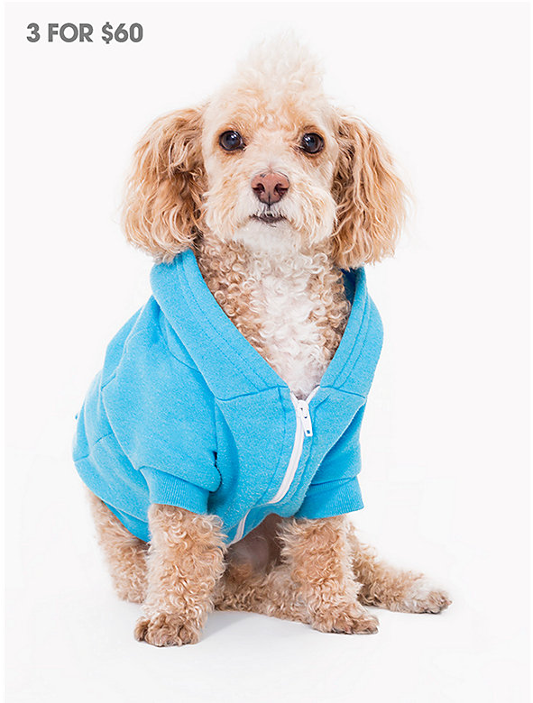 Neon Heather Blue Flex Fleece Dog Zip Hoodie