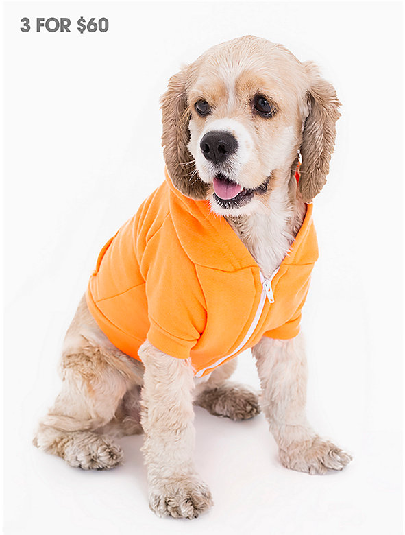 Neon Orange Flex Fleece Dog Zip Hoodie