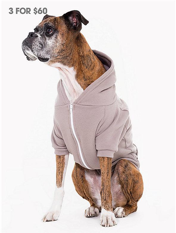 Pewter Flex Fleece Dog Zip Hoodie (XL-2XL)