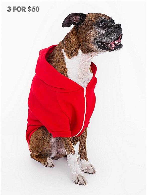 Red Flex Fleece Dog Zip Hoodie (XL-2XL)