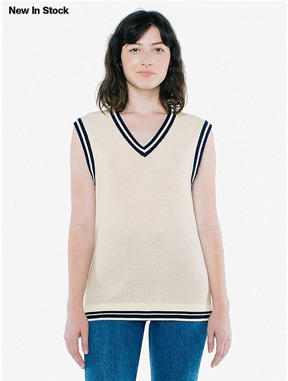 Unisex Mesh Knit V Neck Sweater