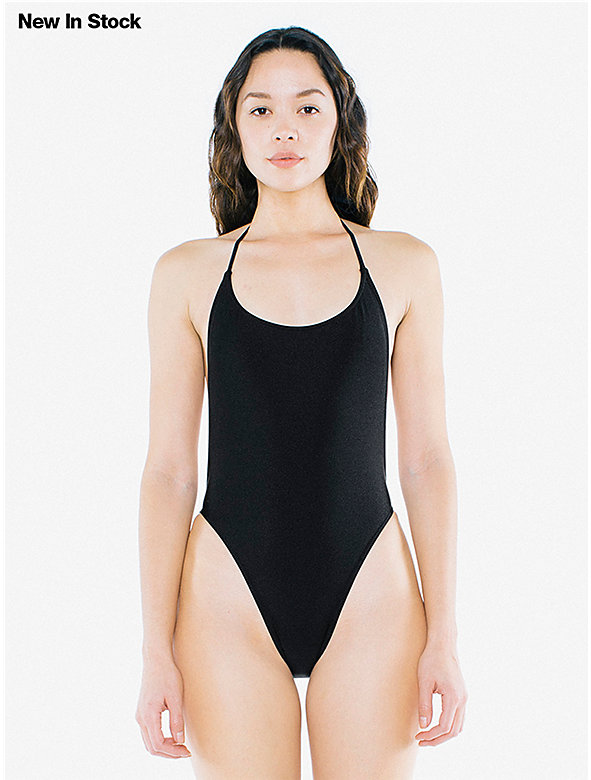 Nylon Tricot Halter Tie One Piece