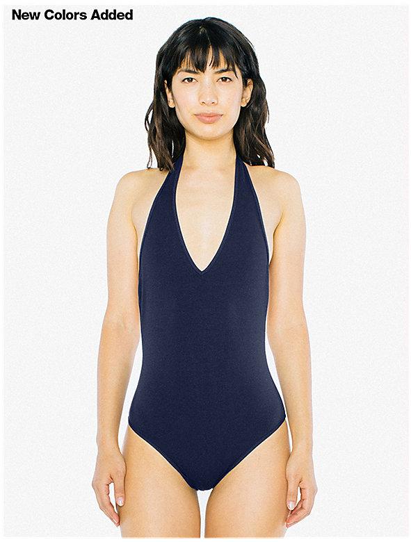 Cotton Spandex Halter Bodysuit