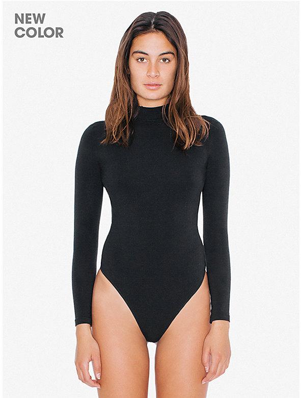 Cotton Spandex Mock Neck Cutout 'Ryder' Bodysuit