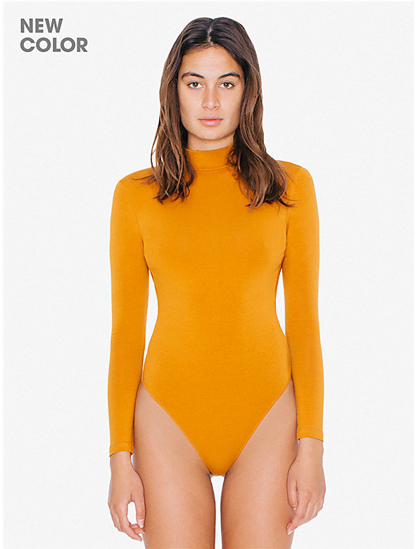Cotton Spandex Mock Neck Cutout 'Ryder' Bodysuit