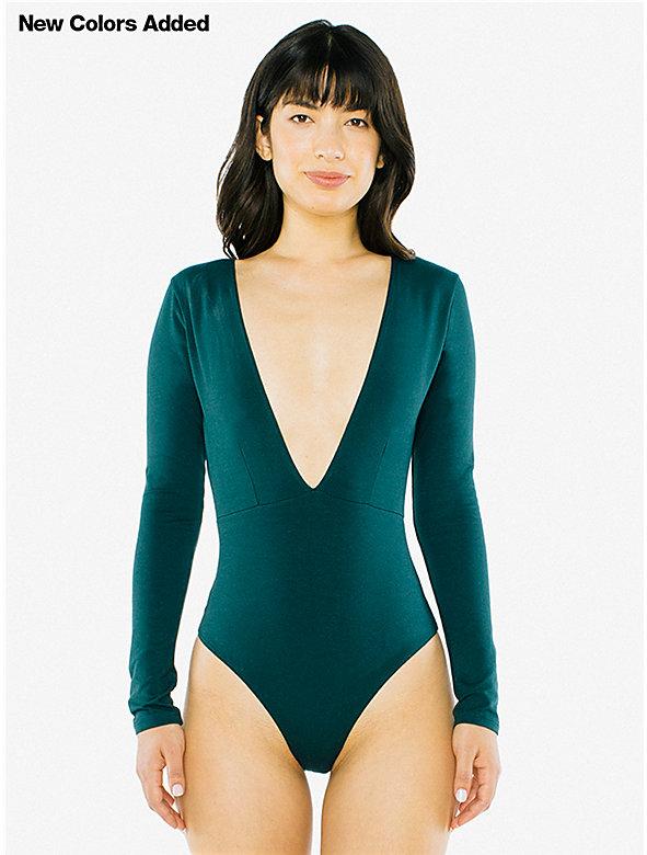 Cotton Spandex Double V Bodysuit
