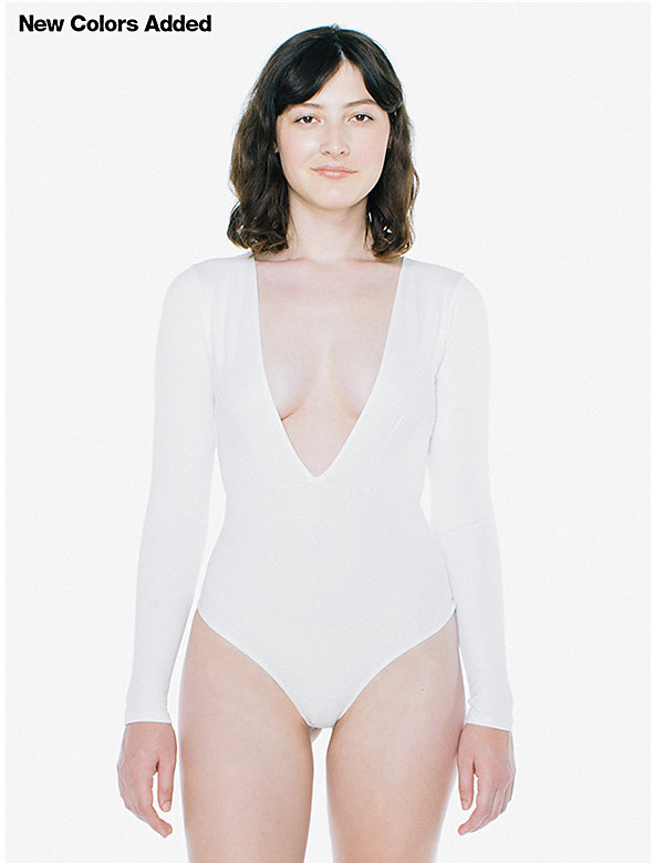 Cotton Spandex Double V Bodysuit