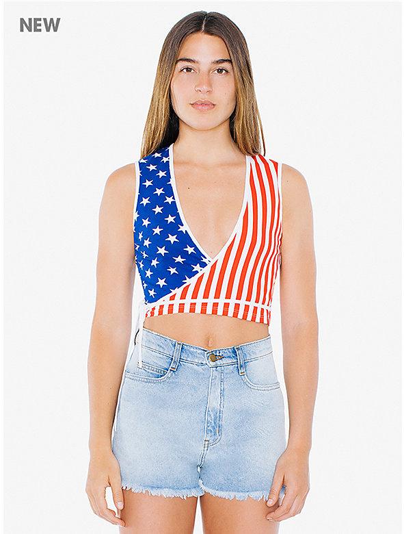 US Flag Cotton Spandex Sleeveless 'Julliard' Wrap Top