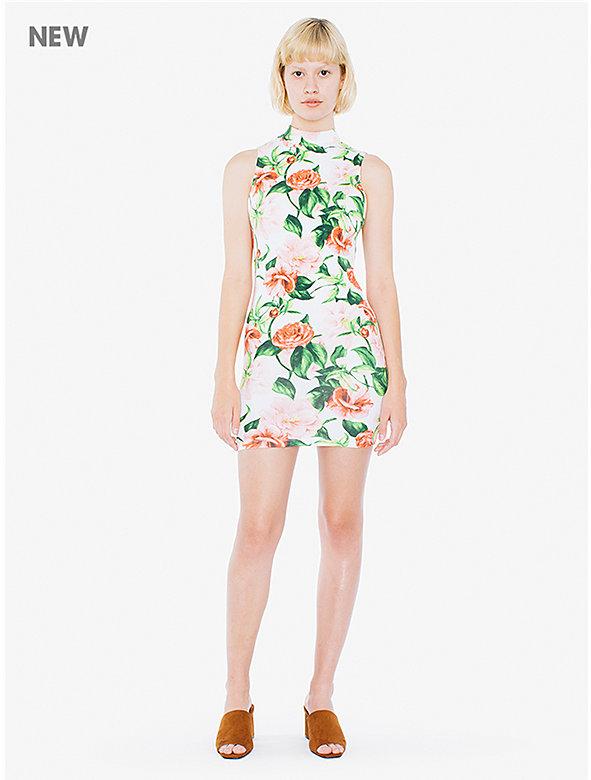 Printed Cotton Spandex Mock Neck Mini Tank Dress