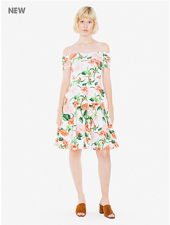 Printed Cotton Spandex Off Shoulder Midi Dress
