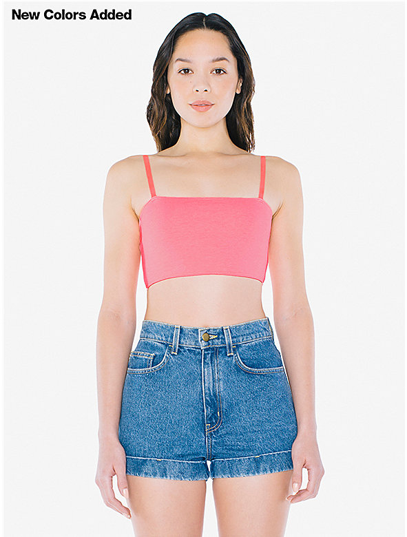 Cotton Spandex Super Crop Spaghetti Tank