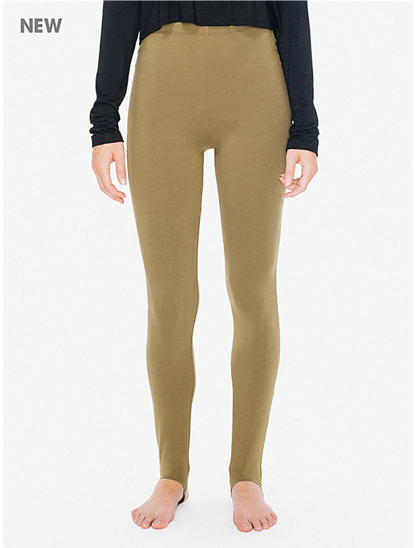 Cotton Spandex High-Waist Stirrup Legging