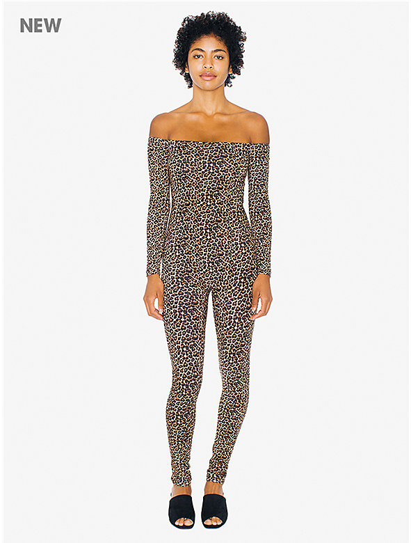 Printed Cotton Spandex Off-Shoulder Long Sleeve Catsuit
