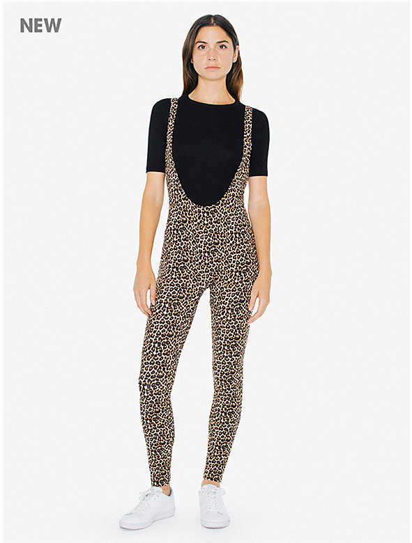 Printed Cotton Spandex Suspender Catsuit