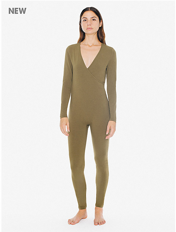 Cotton Spandex Long Sleeve Cross V-Neck Catsuit