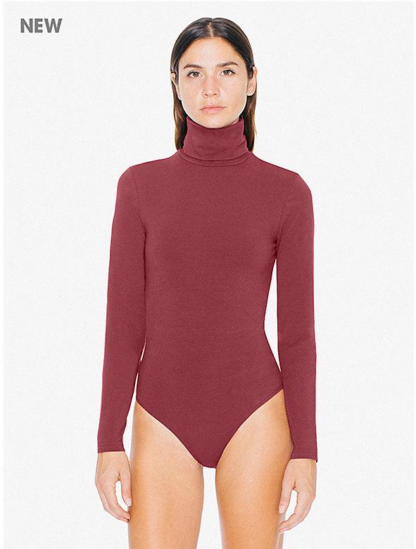 Cotton Spandex Rollover Turtleneck Bodysuit