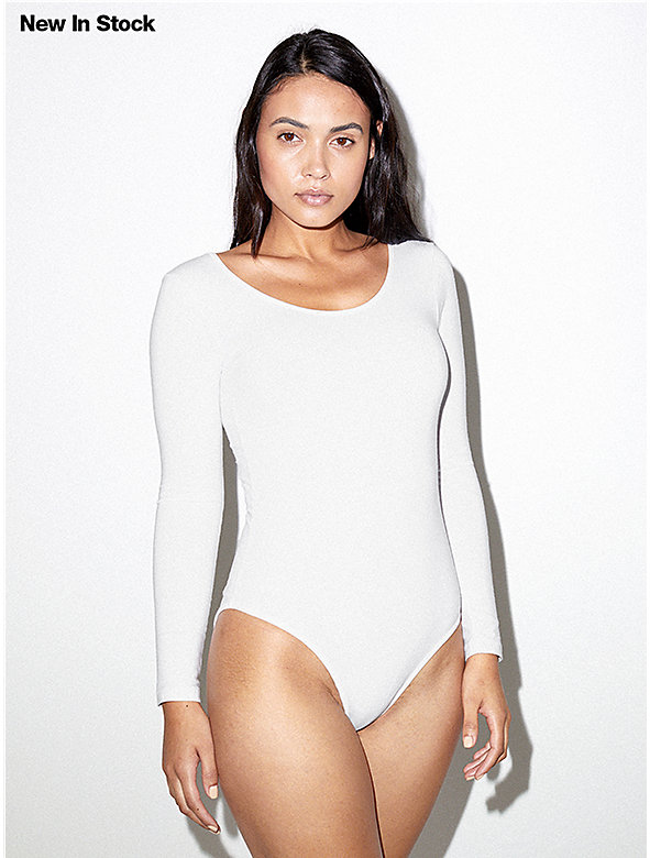 Cotton Spandex Long Sleeve Scoop Back Bodysuit