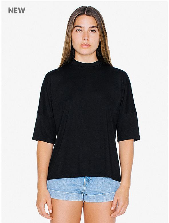Compact Jersey Mock Neck T-Shirt