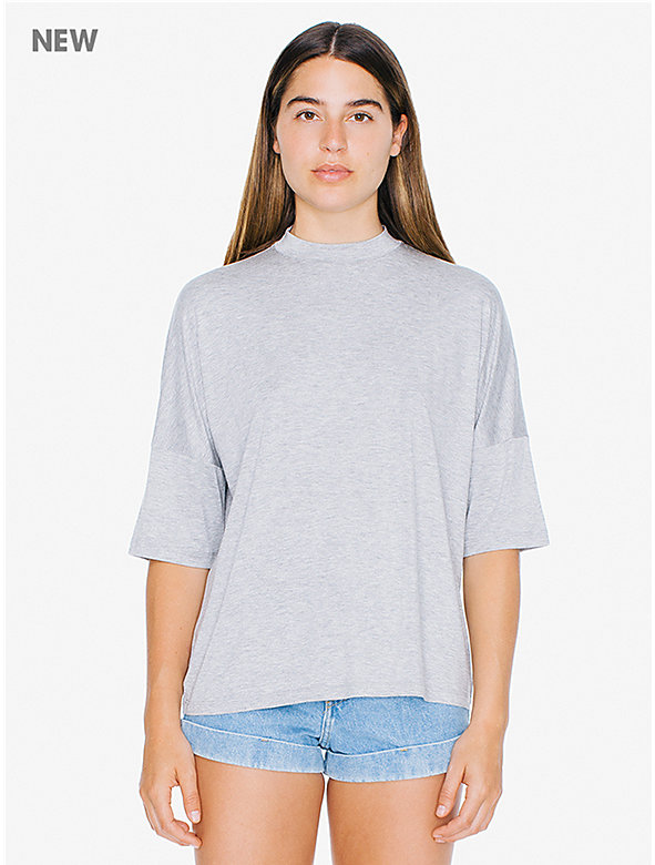 Compact Jersey Mock Neck T-Shirt