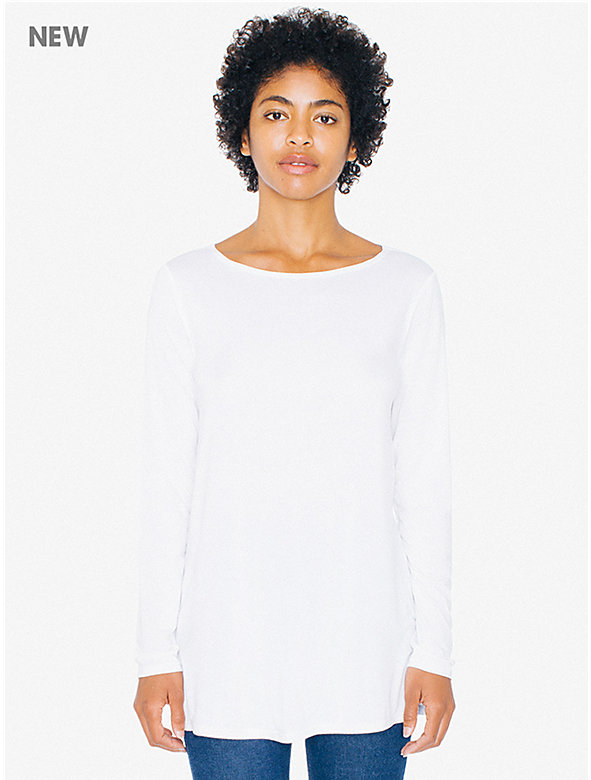 Compact Jersey Boatneck Tunic Top
