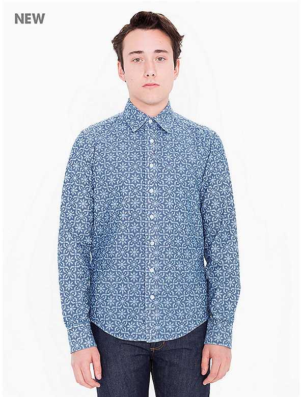 Slim Fit Printed Chambray Shirt