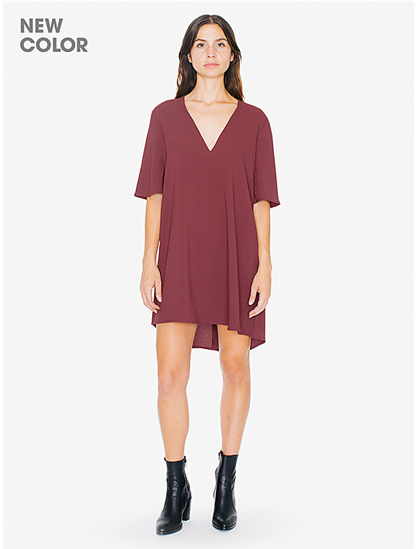 Crepe Slit Back V-Neck Mini Dress