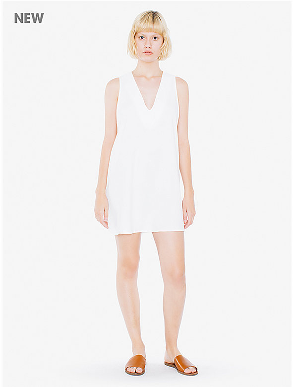 Crepe Sleeveless V-Neck Mini Dress