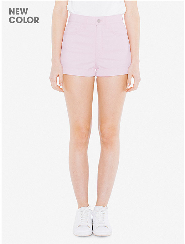 Colored High-Waist Jean Cuff Short