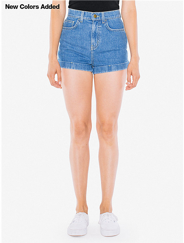 Denim High-Waist Cuff Short