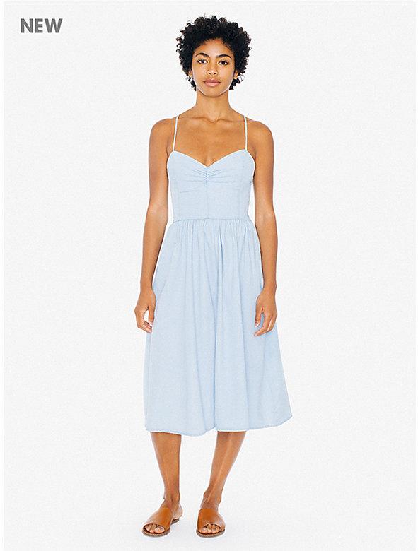 Lightweight Denim Lace Back Midi Dress