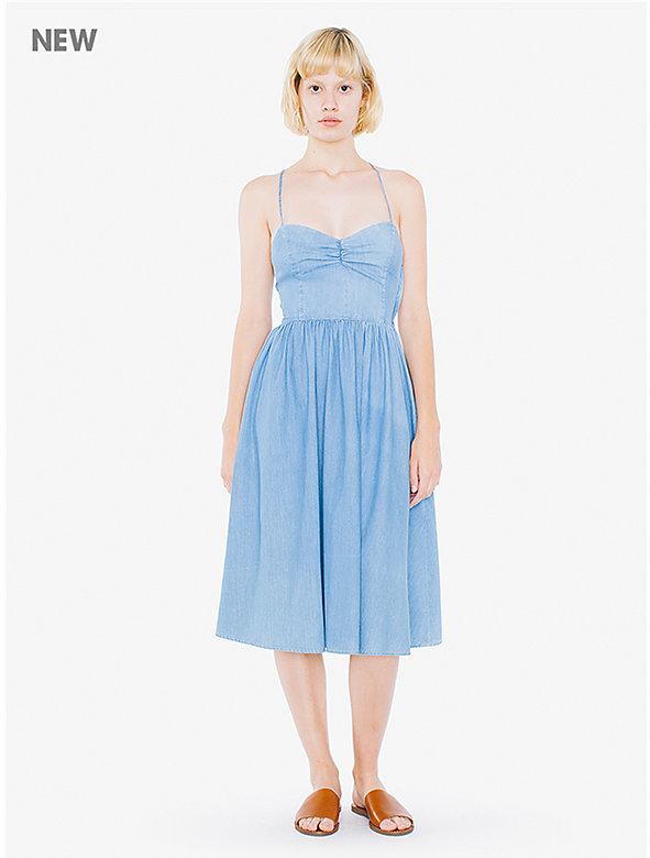 Lightweight Denim Midi Laced Back Dress
