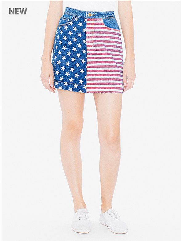 US Flag Denim A-Line Skirt