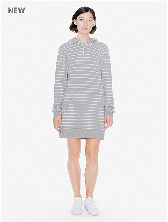 Striped French Terry Hoodie Mini Dress