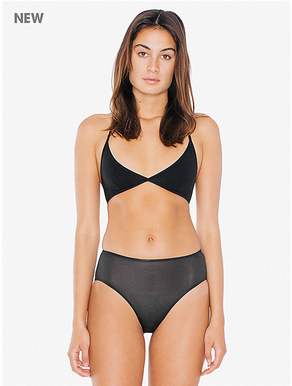 Striped Micromesh High-Waist Brief