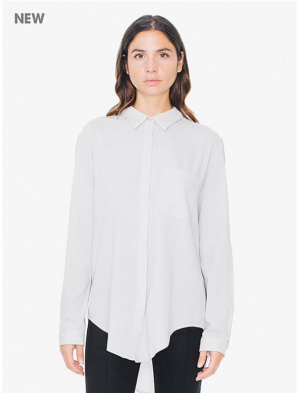 Gauze Voile Button-Up Blouse