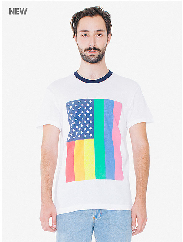 Pride Flag Cotton Mesh Ringer T-Shirt