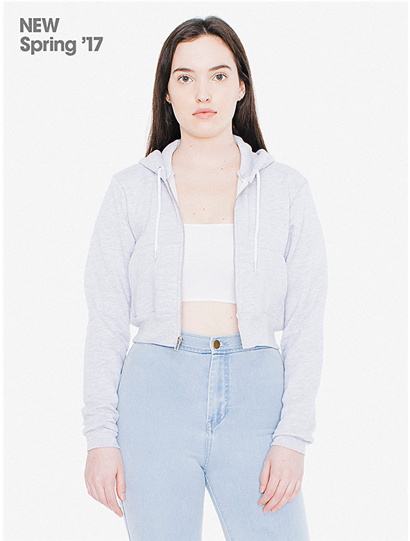 Salt and Pepper Cropped Zip Hoodie