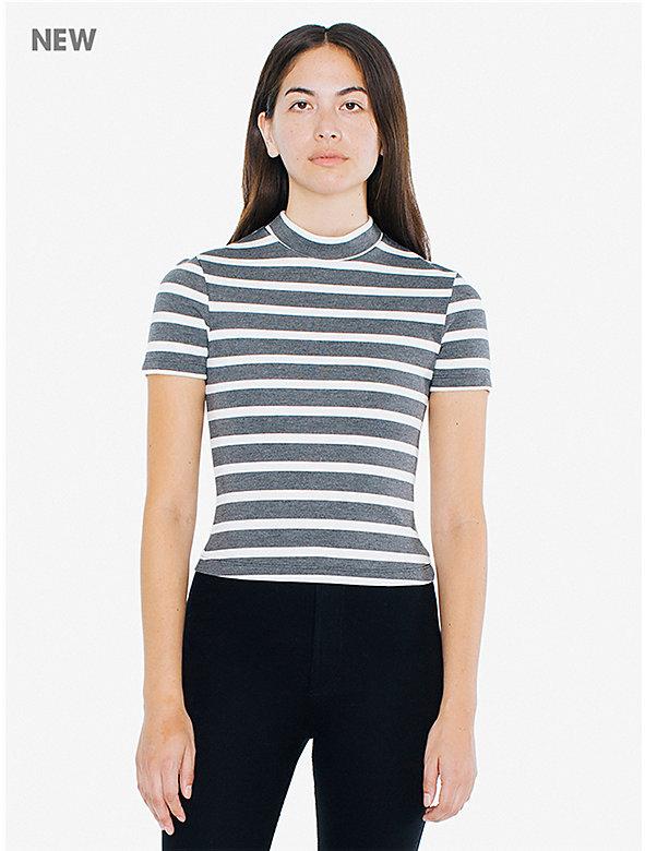 Striped Ponte Mock Neck Short Sleeve Top