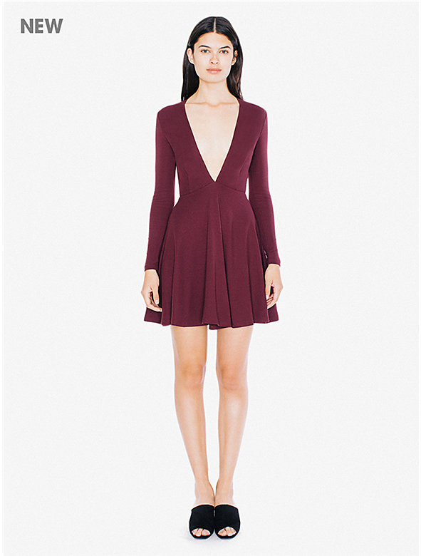 Ponte Long Sleeve Deep V Skater Dress