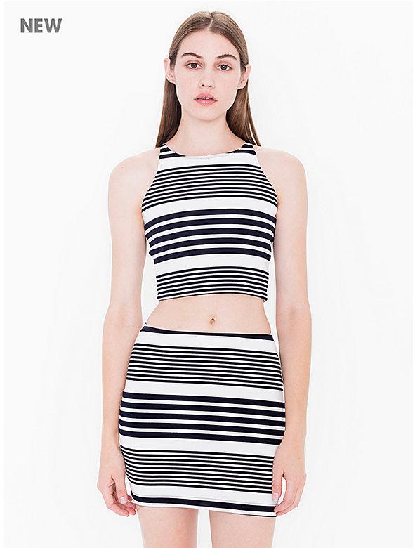 Striped Ponte Mini Skirt