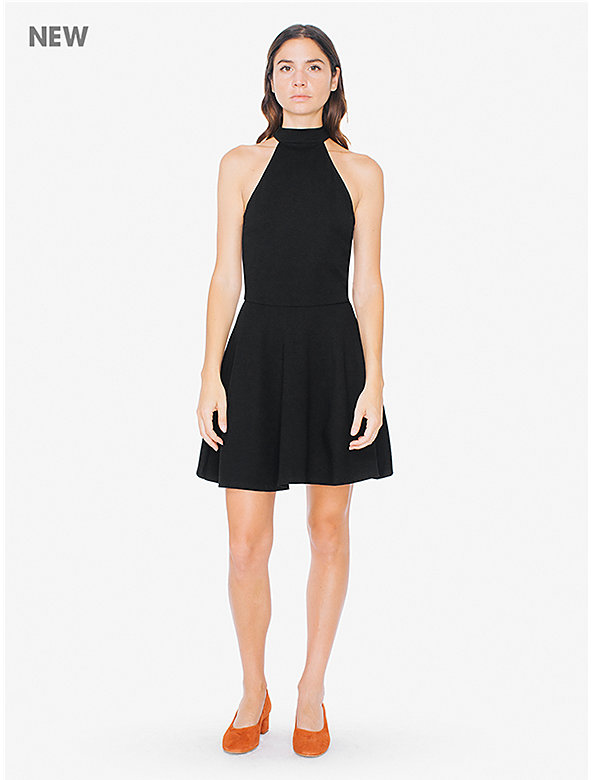 Ponte Mock Neck Sleeveless Skater Dress