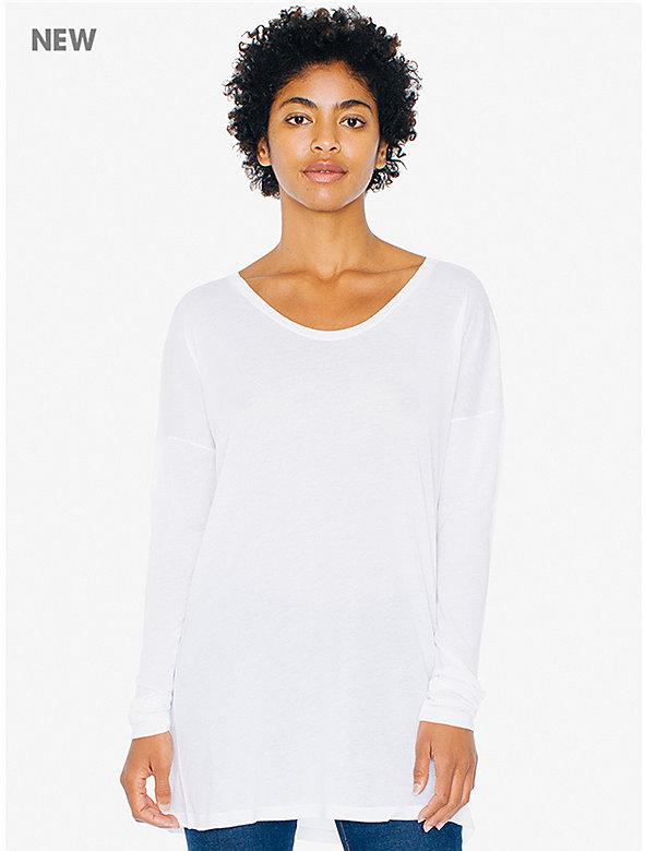 Cotton Modal Drop Shoulder Long Sleeve Tunic Top