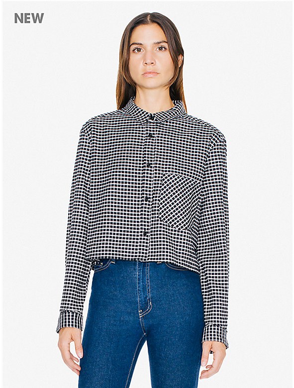 Check Cropped Long Sleeve Shirt