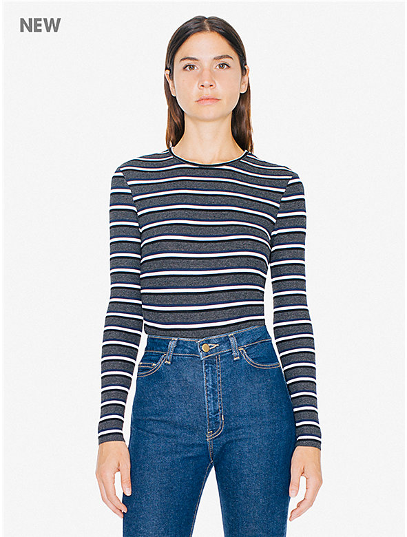 Striped 2x1 Rib Crewneck Long Sleeve Top