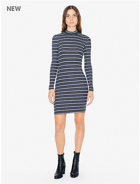 Striped 2x1 Rib Mock Neck Long Sleeve Mini Dress