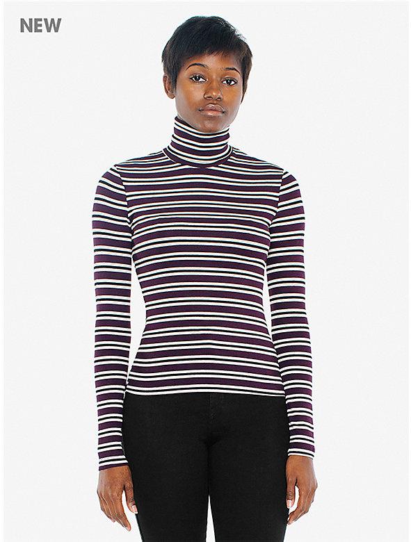 Striped 2x1 Rib Turtleneck Top