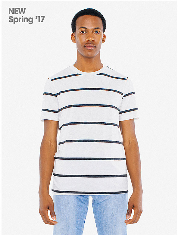 Tri-Blend Stripe Short Sleeve Track Shirt