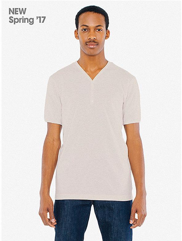Tri-Blend Henley V-Neck T-Shirt