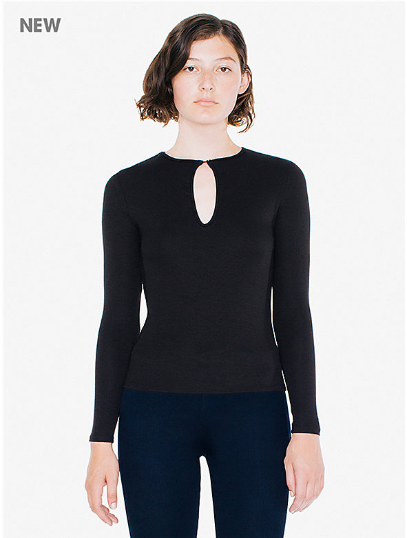 2x2 Rib Keyhole Long Sleeve Top
